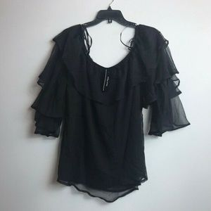 City Chic S/16 Black Tiered Sleeve Blouse R59